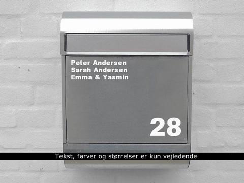 Navneskilt til postkasse